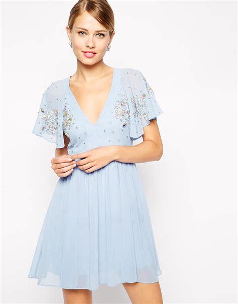 Flutter Sleeve Dress lyst asos embellished flutter sleeve skater dress in blue