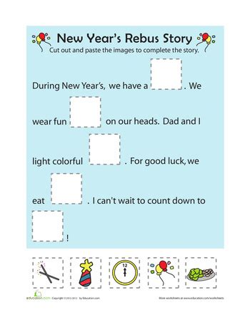 new year s rebus story january worksheets