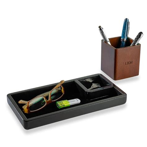 Wood Desk Organizers And Accessories Enamel And Wood Desk Set 3 Pieces Levenger