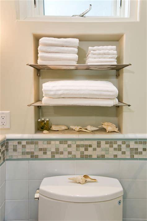 bathroom  towel niche  chrome shelves