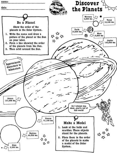 Scholastic Worksheets by Discover The Planets Printable Scholastic