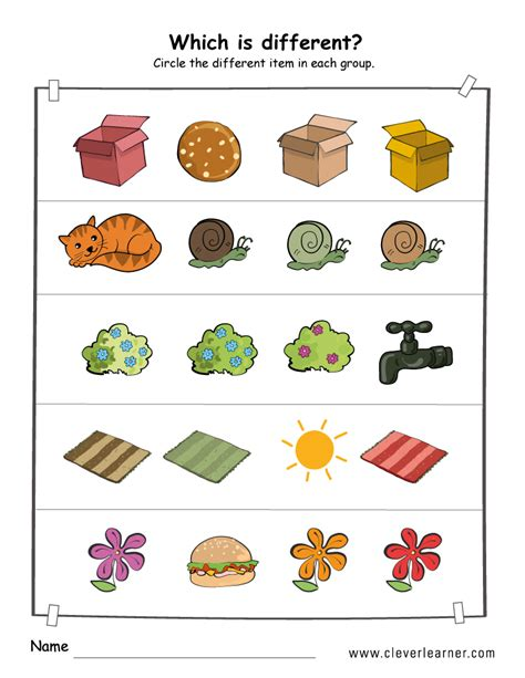 Free Printable Same And Different Worksheets