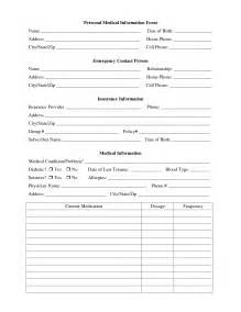 personal information form template 8 best images of printable personal contact template