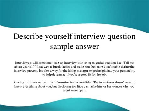 yourself template describe yourself question sle answer