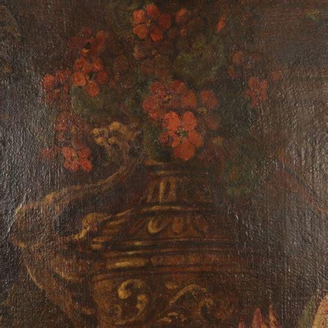 vasi di frutta natura morta con vasi fiori frutta e armi pittura