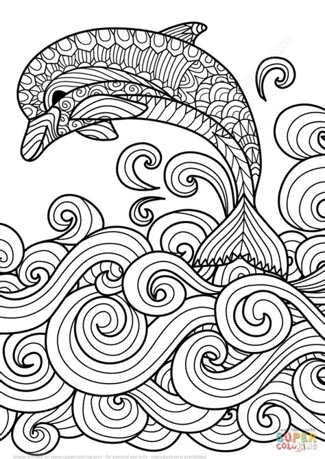 pattern art coloring pages zentangle dolphin with scrolling sea wave design coloring