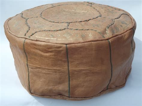 leather ottoman cover vintage moroccan gilt leather pouf ottoman cover for floor