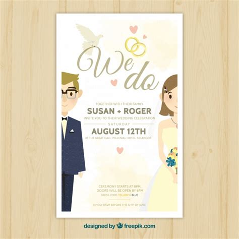 Pretty Wedding Invitations by Pretty Wedding Invitation With Newlyweds Vector Free