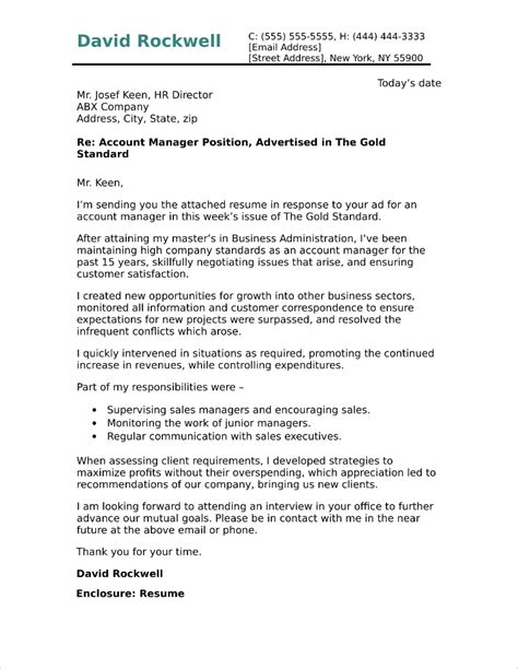 account manager cover letter sample