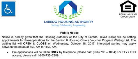 when does the section 8 list open lha to open section 8 waiting list october 18 2017
