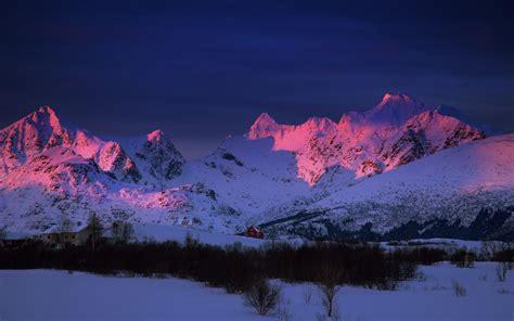 sunlight snow winter mountains landscape nature