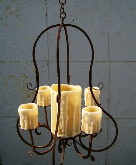 Real Candle Wrought Iron Carriage Chandelier Real Candle Chandelier