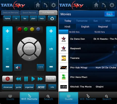 sky guide for android tata sky mobile for android updated with wifi remote program guide and more