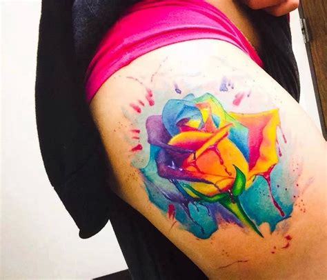 watercolor tattoos in houston rainbow tattoos piercings