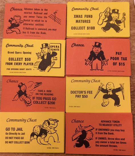 make your own monopoly chance cards 4 complete sets of monopoly community chest and chance cards