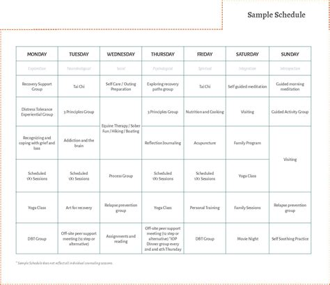 Project Detox Forms by And Rehab Sle Weekly Schedule