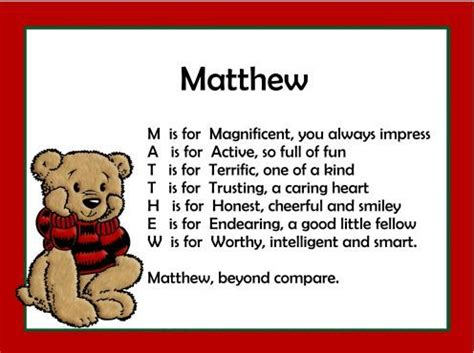 Meaning Of Mat by Acrostic Name Poems For Boys