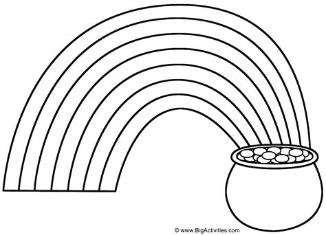 Rainbow And Pot Of Gold Coloring Page Nature Rainbow Coloring Pages For