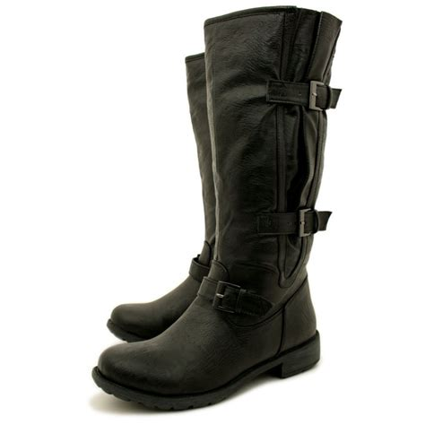 womens black flat leather style wide calf buckled biker