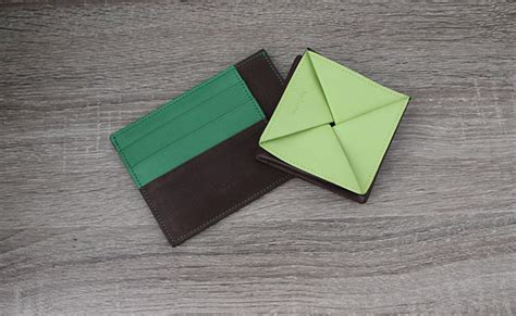 Origami Change Purse - origami leather coin purse row brown and tropic green