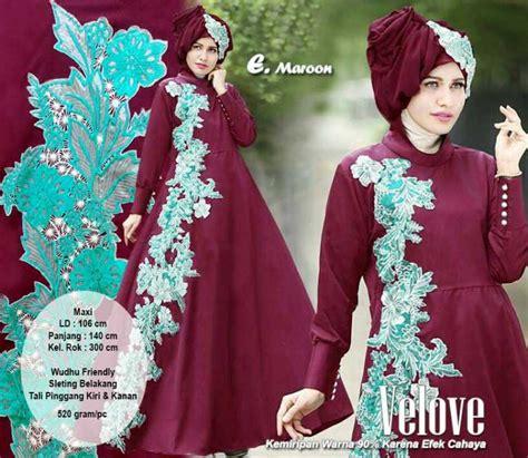 Dress Maxi Wanita Muslim Bordir Busui Meranti Jumbo baju gamis pesta bordir terbaru velove marun model baju