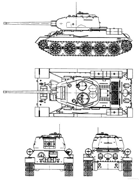 The-Blueprints.com - Blueprints > Tanks > WW2 Tanks ... T 34 Blueprints