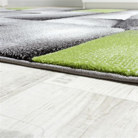 moderne teppich läufer designer teppich kariert konturen schnitt in gr 252 n grau
