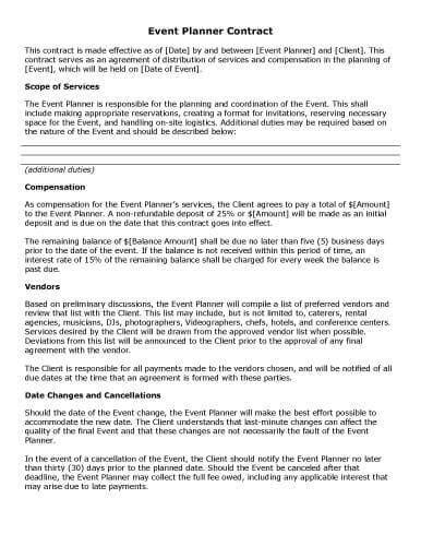 event planner agreement template 32 sle contract templates in microsoft word