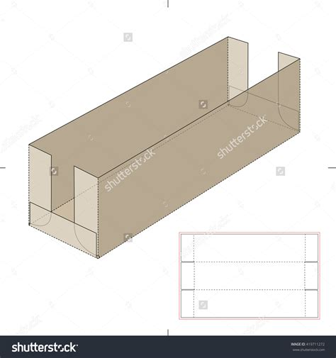 Long Shelf Tray Cardboard Box With Die Cut Template Stock Vector Illustration Box Pinterest Cabinet Paper Template