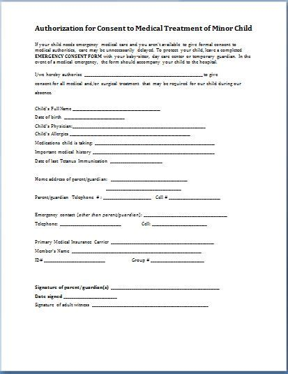 letter consent minor treatment sle child consent forms templates printable