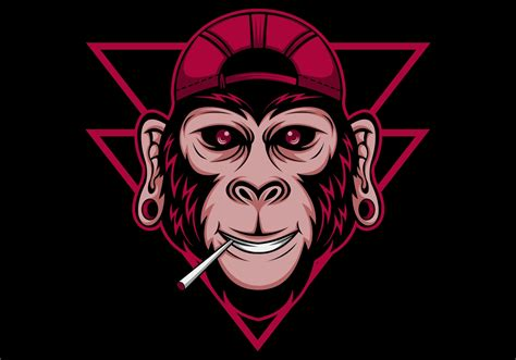 chimpanzee cool vector illustration