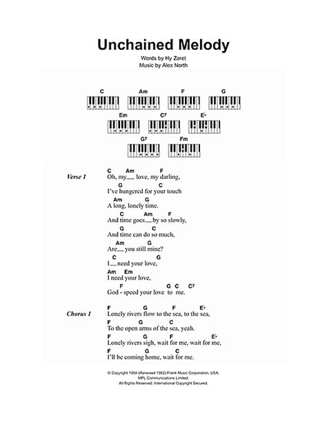 printable lyrics to unchained melody unchained melody sheet music by the righteous brothers