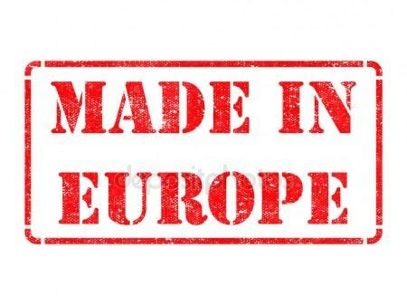 made in europe inscription on red rubber stamp. — stock
