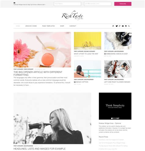 wordpress themes free lifestyle rich taste fashion lifestyle wordpress theme