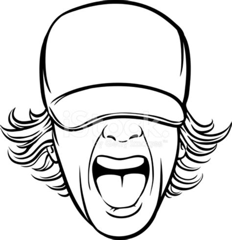 whiteboard drawing screaming man face in cap stock vector
