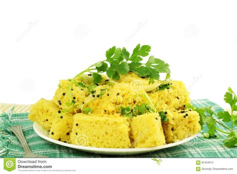 Khaman Dhokla Traditional Gujrati Indian Snack Food Dish