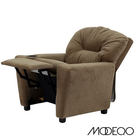 recliner chair for child brown microfiber kids recliner with cup holder