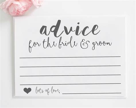 wedding advice cards printable advice for the by