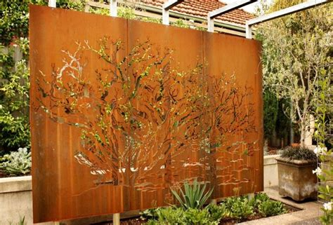 using metal in the landscape for garden walls screens or