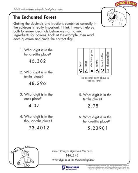 the enchanted forest 4th grade understanding decimal
