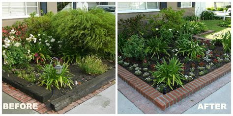 front yard planters before and after following friends