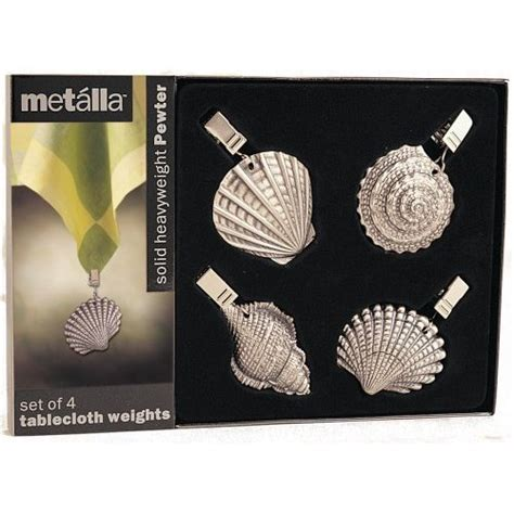 buy special seashell pewter tablecloth weights set of