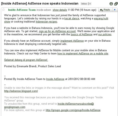 email apple support indonesia kini google adsense for content sudah support bahasa