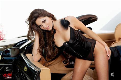 Aspen Rae Getting Naked In Her Black Ferrari