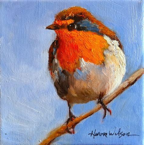 birds painting norma wilson robin taking a bird