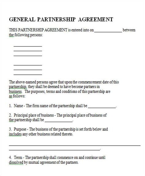 43 Simple Agreement Forms Sle Templates California General Partnership Agreement Template Free