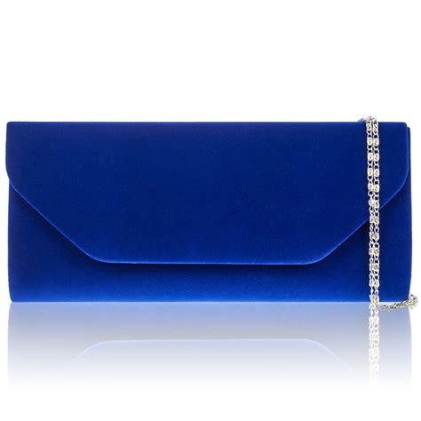 xardi royal blue faux suede plain clutch bag