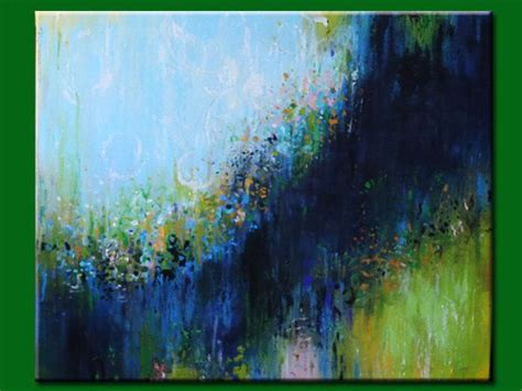 blue green paint blue abstract modean acrylic painting contemporary art