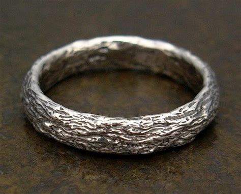 Bark Design Wedding Ring by Mens Ring Or Silver Wedding Band Tree Bark Texture Size 9