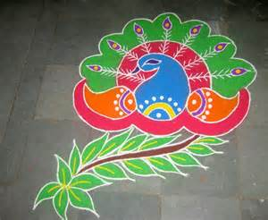 easy beautiful peacock rangoli designs